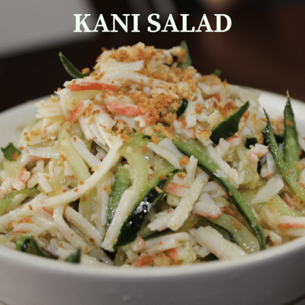 cucumbers, crab meat, and panko bread crumbs